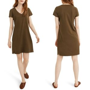 Madewell V-neck T-Shirt Dress in Olive